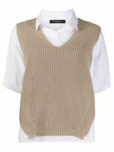 Piazza Sempione layered knit shirt - White
