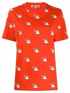 McQ Alexander McQueen swallow-print crew-neck T-shirt - ORANGE