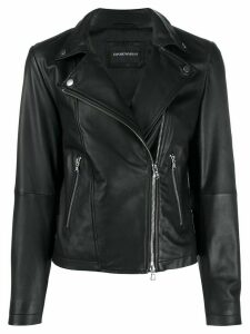 Emporio Armani zipped biker jacket - Black