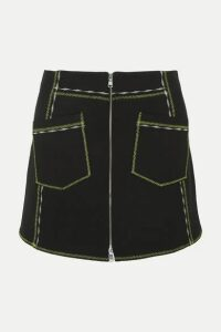 McQ Alexander McQueen - Embroidered Stretch-jersey Mini Skirt - Black