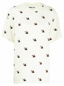 McQ Alexander McQueen swallow print T-shirt - NEUTRALS