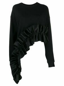 Christopher Kane asymmetric frill trim sweatshirt - Black