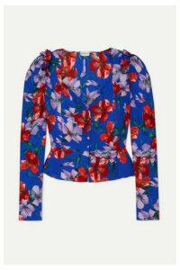 Magda Butrym - Evora Floral-print Silk-satin Blouse - Blue