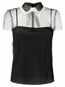 Red Valentino Point d'Esprit pussy bow blouse - Black