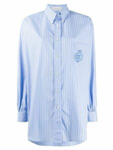 Etro striped long-line shirt - Blue