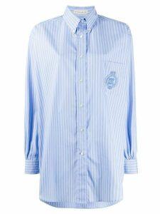 Etro striped long-line shirt - Blue