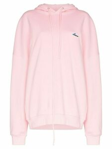 We11done oversized logo-appliqued cotton hoodie - PINK