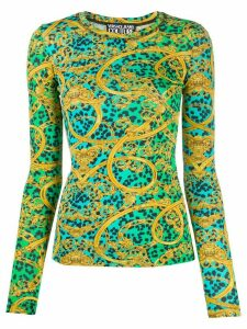 Versace Jeans Couture Leo Chain-print long-sleeved T-shirt - Green