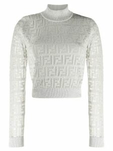 Fendi sheer sleeves metallic crew neck jumper - SILVER