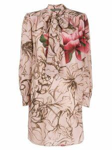 Alberta Ferretti floral print bow tie dress - PINK