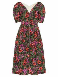Marni V-neck floral print midi dress - Green