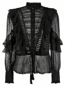 Etro sheer ruffled blouse - Black