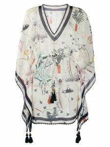 Tory Burch Poetry printed kaftan top - NEUTRALS