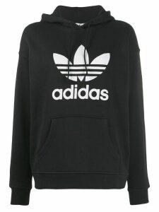 adidas Trefoil logo print hoodie - Black