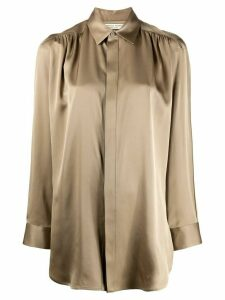 Bottega Veneta gathering details longline shirt - NEUTRALS