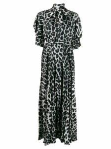 Just Cavalli leopard-print pussy bow dress - White