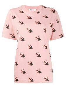 McQ Alexander McQueen swallow-print crew-neck T-shirt - PINK