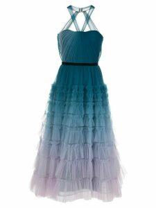 Marchesa Notte ombré tiered gown - Blue