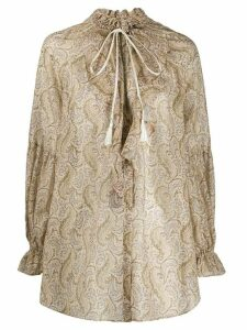 Etro paisley ruffled neck blouse - NEUTRALS