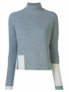 DUFFY cashmere ribbed funnel neck jumper - Blue