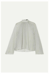 RtA - Tennessee Gathered Polka-dot Chiffon Blouse - White