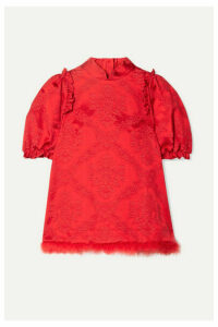 Simone Rocha - Feather-trimmed Cotton-blend Brocade Blouse - Red