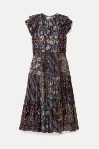 Ulla Johnson - Asis Printed Cotton And Silk-blend Midi Dress - Indigo