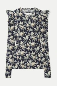 Les Rêveries - Open-back Floral-print Cotton-jersey Top - Navy