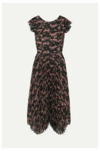 Markus Lupfer - Sadie Pleated Floral-print Crepe De Chine And Chiffon Midi Dress - Black