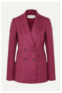 Gabriela Hearst - Angela Double-breasted Wool, Silk And Linen-blend Blazer - Burgundy