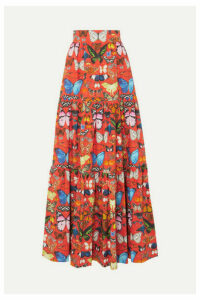Mary Katrantzou - Carmen Tiered Printed Cotton-poplin Maxi Skirt - UK6