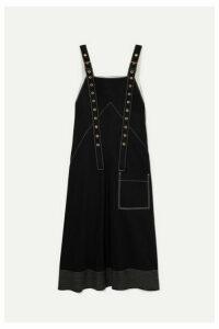 Proenza Schouler - Embroidered Cotton-drill Midi Dress - Black
