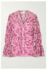 MICHAEL Michael Kors - Smocked Floral-print Chiffon Blouse - Pink