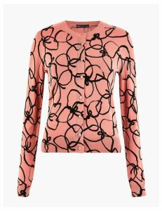 M&S Collection Floral Round Neck Cardigan