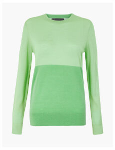 M&S Collection Pure Merino Wool Colour Block Jumper