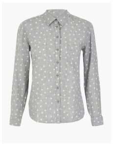 M&S Collection Pure Linen Polka Dot Shirt