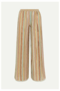 Missoni - Sequined Striped Lurex Wide-leg Pants - Neutral