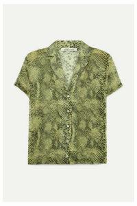 Sandy Liang - Don Snake-print Silk Crepe De Chine Shirt - Green