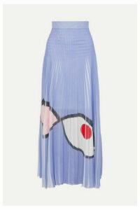 Akris - Frayed Printed Plissé-organza Maxi Skirt - Lilac