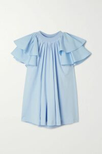 Miguelina - Marcy Cropped Tie-front Linen Top - Tomato red