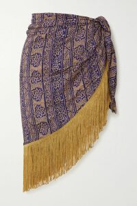 Figue - Reina Ruffled Printed Cotton-poplin Top - Red