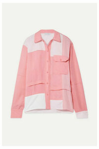 JW Anderson - Oversized Patchwork Cotton, Brushed-twill And Crepe De Chine Shirt - Pink