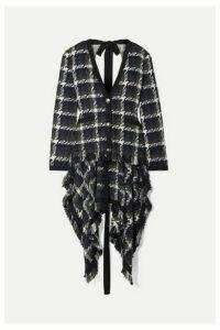 Monse - Open-back Grosgrain-trimmed Tweed Cardigan - Navy