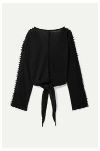 Caravana - Ticul Open-back Fringed Cotton-gauze Top - Black