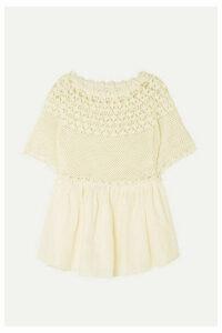Innika Choo - Paue Würful Crocheted Linen Top - Cream