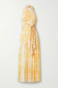 Peter Pilotto - Cold-shoulder Tiered Floral-print Cotton Maxi Dress - Pink