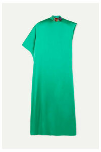 Christopher Kane - Asymmetric Crystal-embellished Satin Kaftan - Emerald
