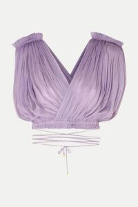 Elena Makri - Antigone Cropped Pleated Silk-tulle Wrap Top - Lilac