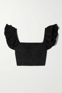 Elena Makri - Tegea Gathered Silk-tulle Top - Black