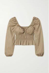 Elena Makri - Delfis Asymmetric Pleated Silk-tulle Midi Skirt - Yellow